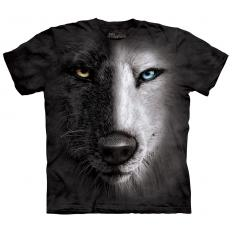 !?T-Shirt Black & White Wolf Face