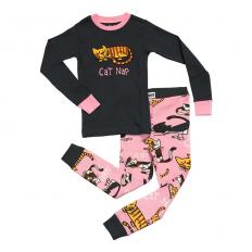 !?Kids PJ Set Long-Sleeve Kids Cat Nap