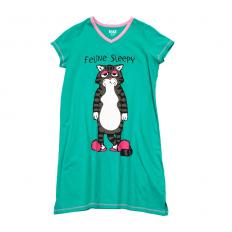 !?Women V Neck Nightshirt Feline Sleepy
