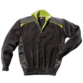 Ultra knitted half-zip sweater black green | XXL
