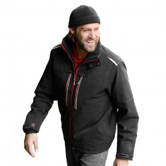 KRÄHE Worker Softshell Jacket black red | S