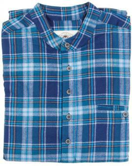 Grandfathershirt Lee Valley blauw | M