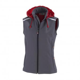 KRÄHE Women Softshell Vest light grey red | 36