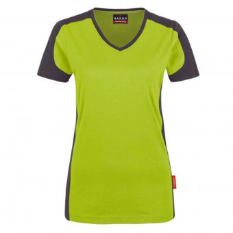 Hakro Contrast Performance V-Shirt green grey | S