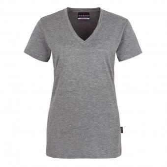 Hakro Classic V-Neck Shirt grey melange | XL