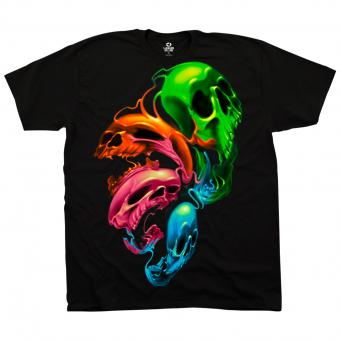 Liquid Blue T-Shirt Neon Skulls black | M