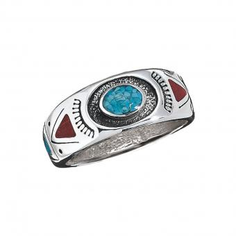 Navahopi Turquoise & Coral Ring 11