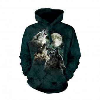Shirt met capuchon Three Wolf Moon zwart | S