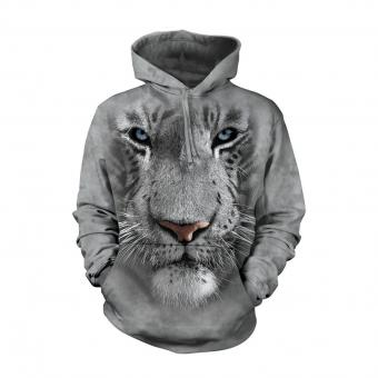 Hoodie White Tiger Face grey | S