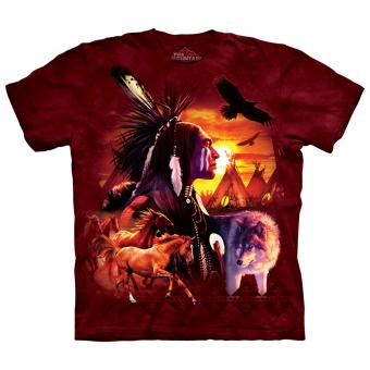 T-shirt Indian Collage rouge | XL