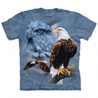 T-shirt Faded Flag & Eagles blauw | XXL