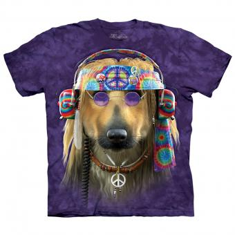 T-shirt Groovy Dog paars | S