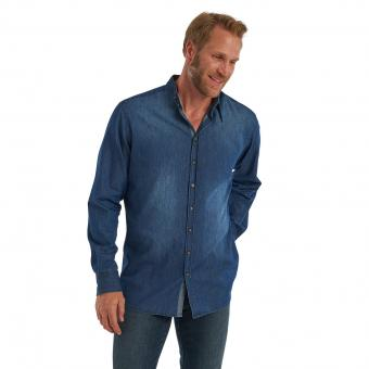 Grandfatherhemd Zach blue denim | M