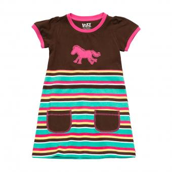 Kids T-Shirt Dress Girls Horse Stripe 2
