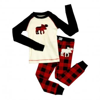 Kids PJ Set Long-Sleeve Kids Moose Plaid 3