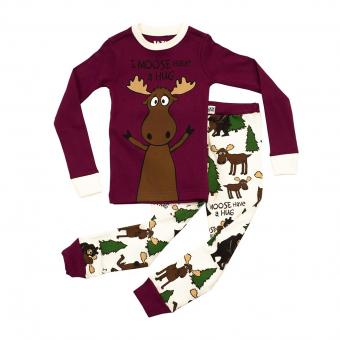 Kids PJ Set Long-Sleeve Kids Moose Hug 6
